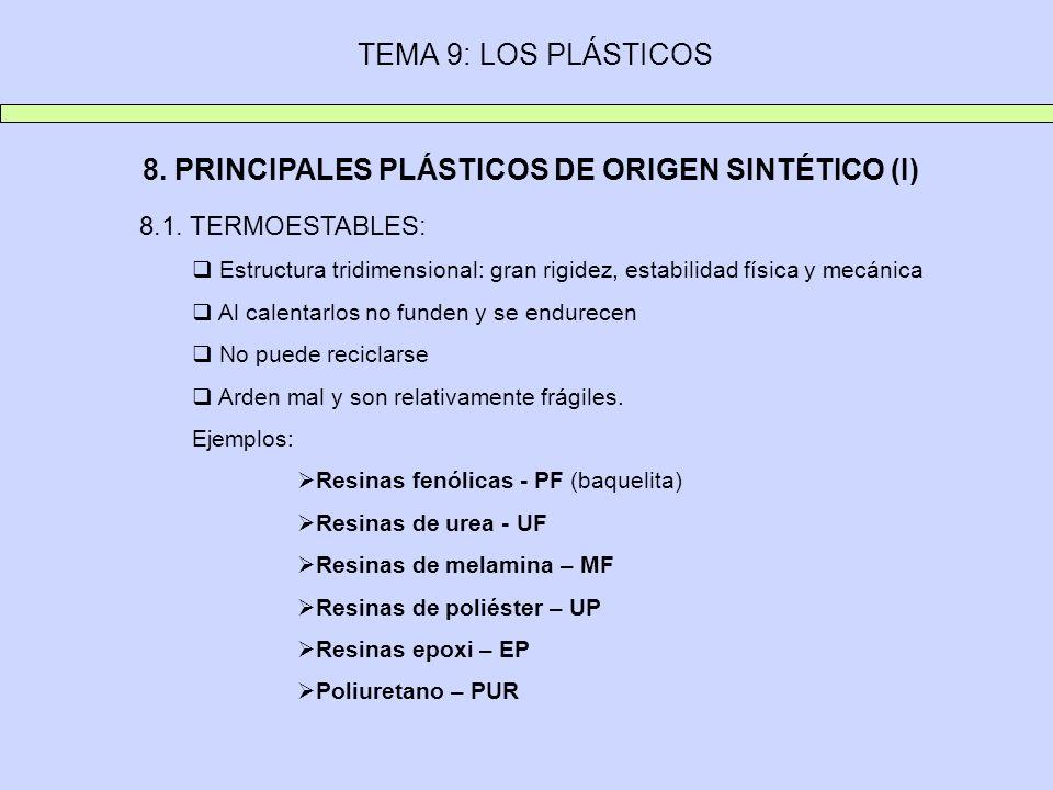 TEMA 9: LOS PLÁSTICOS 8. PRINCIPALES PLÁSTICOS DE ORIGEN SINTÉTICO (I) 8.1. TERMOESTABLES: Estructura tridimensional: gran rigidez, estabilidad física