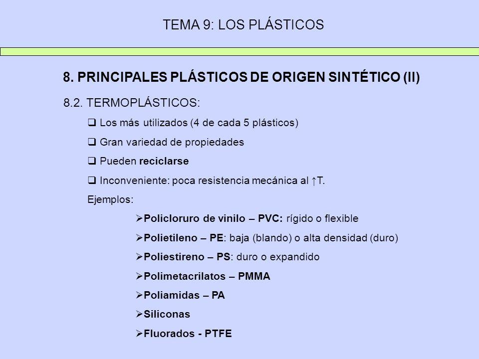 TEMA 9: LOS PLÁSTICOS 8. PRINCIPALES PLÁSTICOS DE ORIGEN SINTÉTICO (II) 8.2. TERMOPLÁSTICOS: Los más utilizados (4 de cada 5 plásticos) Gran variedad