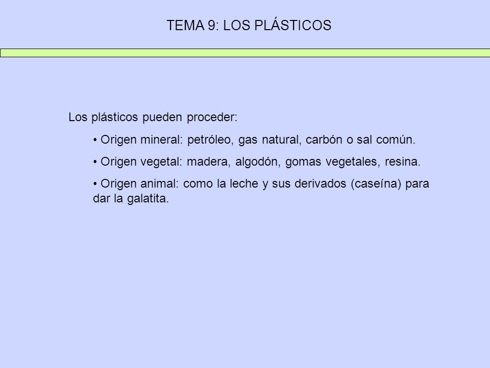TEMA 9: LOS PLÁSTICOS Los plásticos pueden proceder: Origen mineral: petróleo, gas natural, carbón o sal común. Origen vegetal: madera, algodón, gomas