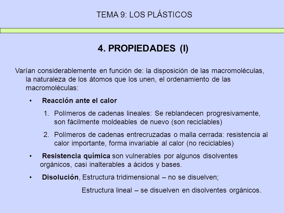 TEMA 9: LOS PLÁSTICOS 4. PROPIEDADES (I) Varían considerablemente en función de: la disposición de las macromoléculas, la naturaleza de los átomos que