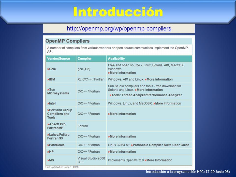 Introducción a la programación HPC (17-20 Junio 08) Introducción Es un conjunto de especificaciones, como puede serlo MPI (Message Passing Interface), implementado por: –Directivas de compilación –Una librería de funciones en tiempo de ejecución –Variables de entorno ¿Qué se puede paralelizar en OpenMP.