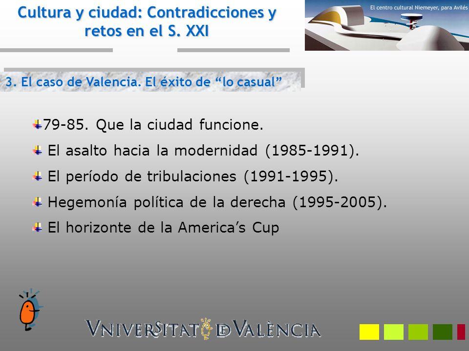 3. El caso de Valencia. El éxito de lo casual Cultura y ciudad: Contradicciones y retos en el S. XXI 79-85. Que la ciudad funcione. El asalto hacia la
