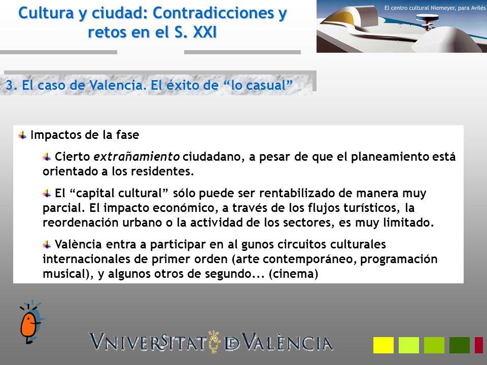 3. El caso de Valencia. El éxito de lo casual Cultura y ciudad: Contradicciones y retos en el S. XXI Impactos de la fase Cierto extrañamiento ciudadan