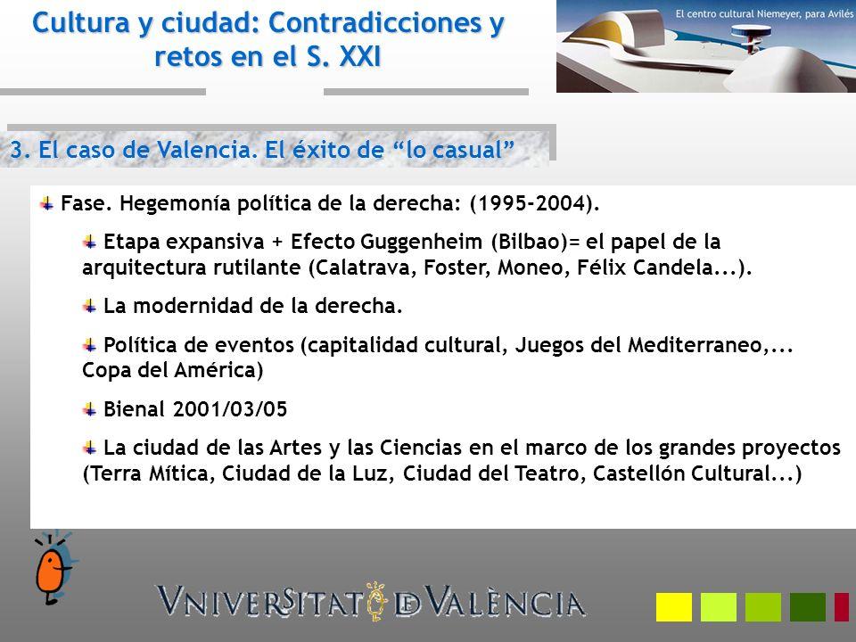 3. El caso de Valencia. El éxito de lo casual Cultura y ciudad: Contradicciones y retos en el S. XXI Fase. Hegemonía política de la derecha: (1995-200