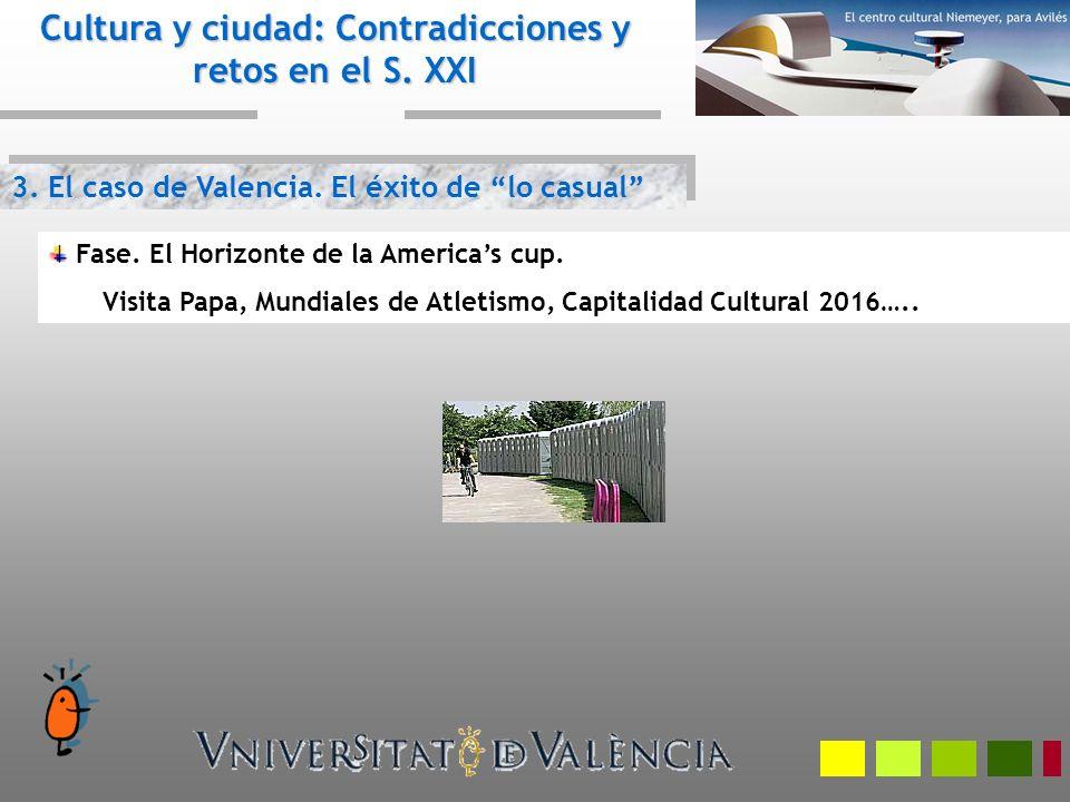 3. El caso de Valencia. El éxito de lo casual Cultura y ciudad: Contradicciones y retos en el S. XXI Fase. El Horizonte de la Americas cup. Visita Pap