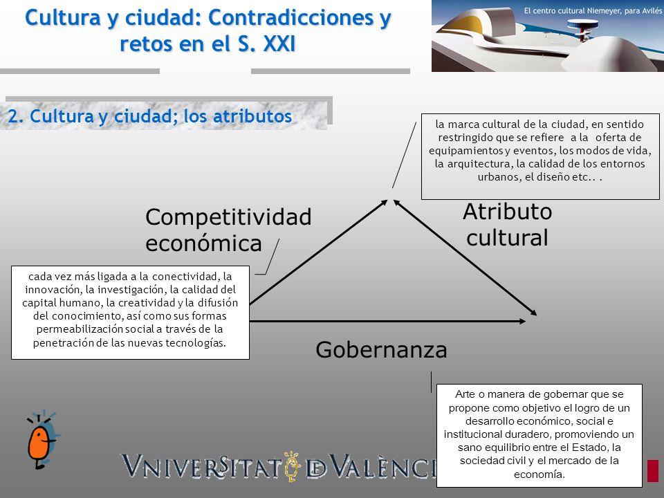 2. Cultura y ciudad; los atributos Cultura y ciudad: Contradicciones y retos en el S. XXI Competitividad económica Atributo cultural Gobernanza cada v