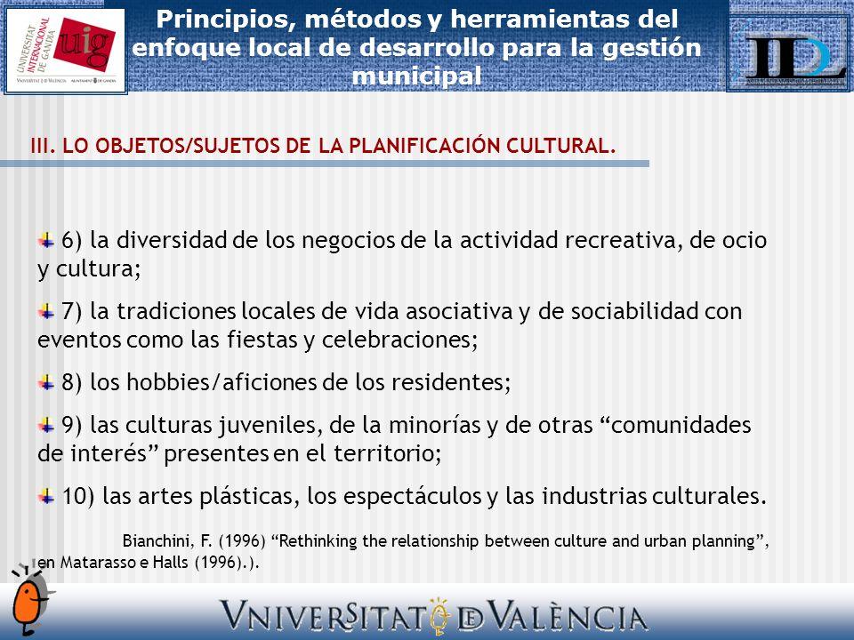 III. LO OBJETOS/SUJETOS DE LA PLANIFICACIÓN CULTURAL.