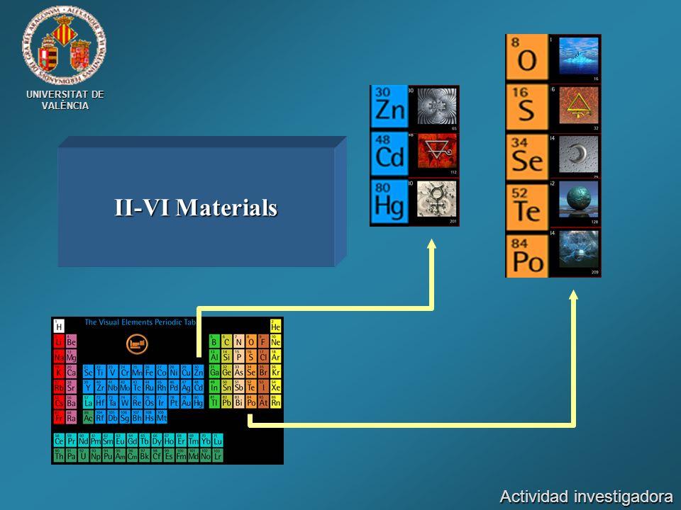 UNIVERSITAT DE VALÈNCIA II-VI Materials Actividad investigadora
