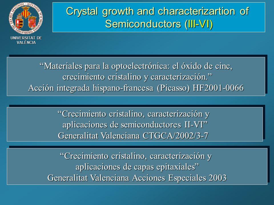 UNIVERSITAT DE VALÈNCIA Materiales para la optoelectrónica: el óxido de cinc,Materiales para la optoelectrónica: el óxido de cinc, crecimiento cristal