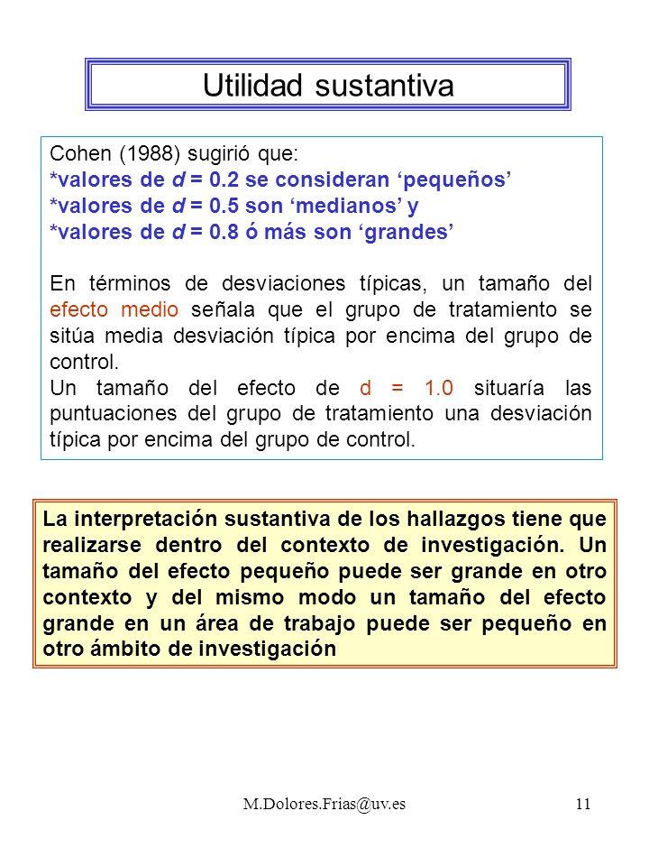 M.Dolores.Frias@uv.es11 Utilidad sustantiva Cohen (1988) sugirió que: *valores de d = 0.2 se consideran pequeños *valores de d = 0.5 son medianos y *valores de d = 0.8 ó más son grandes En términos de desviaciones típicas, un tamaño del efecto medio señala que el grupo de tratamiento se sitúa media desviación típica por encima del grupo de control.
