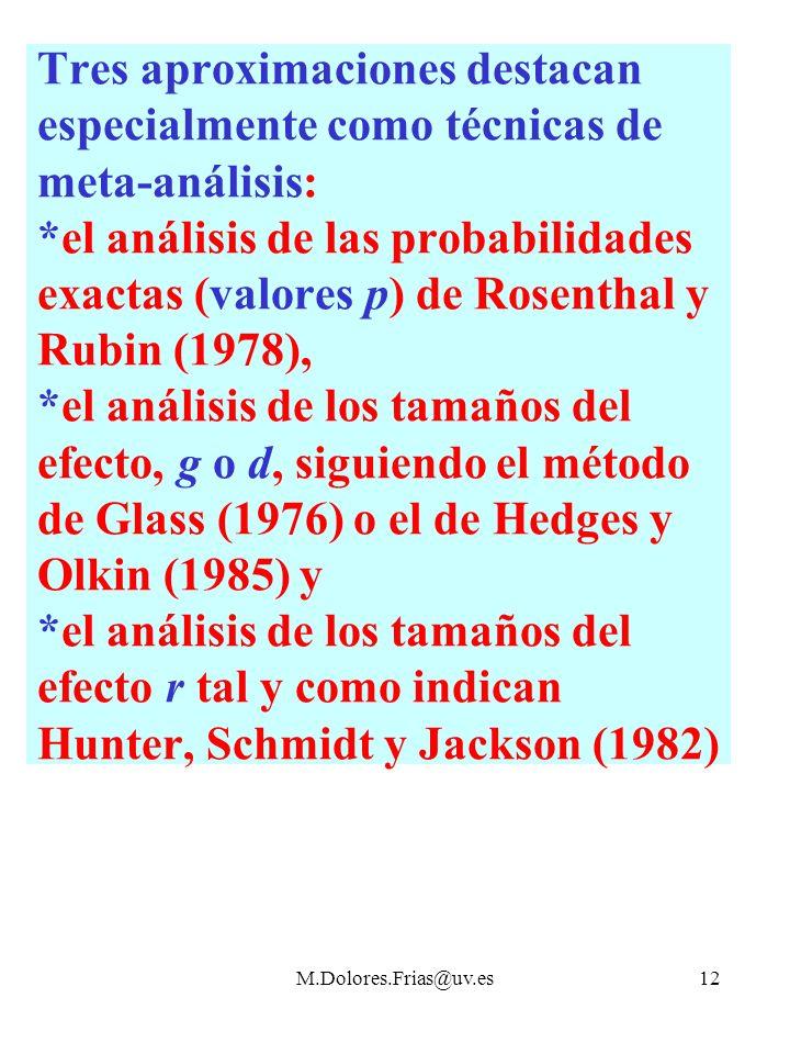 M.Dolores.Frias@uv.es12 Tres aproximaciones destacan especialmente como técnicas de meta-análisis: *el análisis de las probabilidades exactas (valores p) de Rosenthal y Rubin (1978), *el análisis de los tamaños del efecto, g o d, siguiendo el método de Glass (1976) o el de Hedges y Olkin (1985) y *el análisis de los tamaños del efecto r tal y como indican Hunter, Schmidt y Jackson (1982)