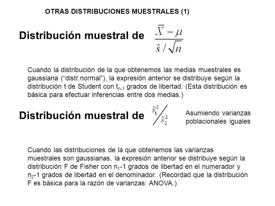 Distribución muestral de Cuando la distribución de la que obtenemos las medias muestrales es gaussiana (distr.normal), la expresión anterior se distri