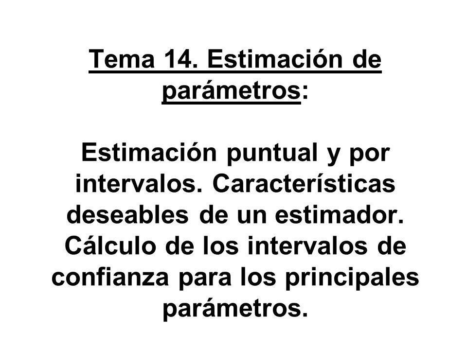 Tema 14. Estimación de parámetros: Estimación puntual y por intervalos. Características deseables de un estimador. Cálculo de los intervalos de confia