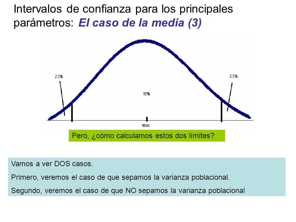 Intervalos de confianza para los principales parámetros: El caso de la media (3) Pero, ¿cómo calculamos estos dos límites? Vamos a ver DOS casos. Prim