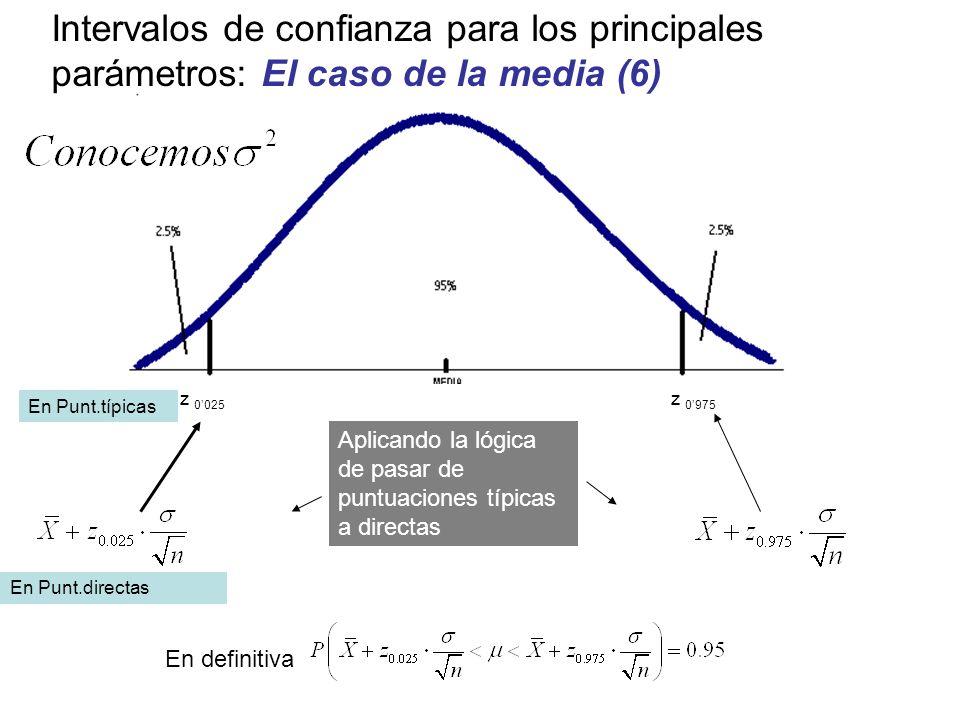 z 0975 z 0025 En definitiva Intervalos de confianza para los principales parámetros: El caso de la media (6) Aplicando la lógica de pasar de puntuacio