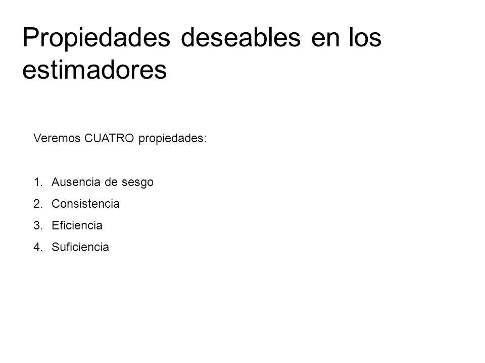 Propiedades deseables en los estimadores Veremos CUATRO propiedades: 1.Ausencia de sesgo 2.Consistencia 3.Eficiencia 4.Suficiencia