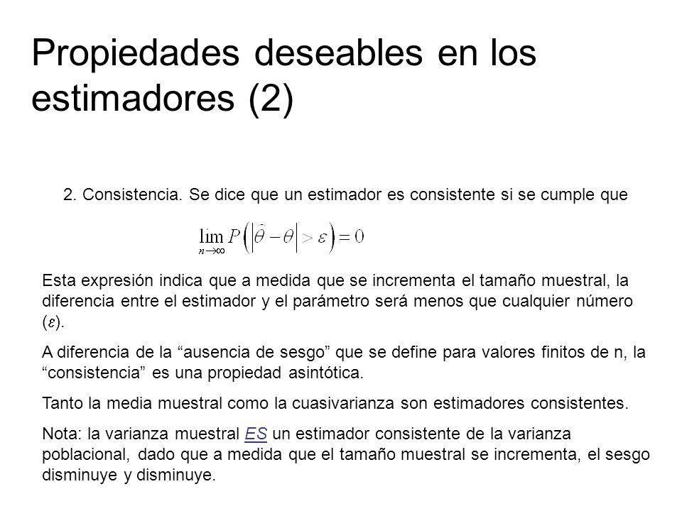 Propiedades deseables en los estimadores (2) 2. Consistencia. Se dice que un estimador es consistente si se cumple que Esta expresión indica que a med