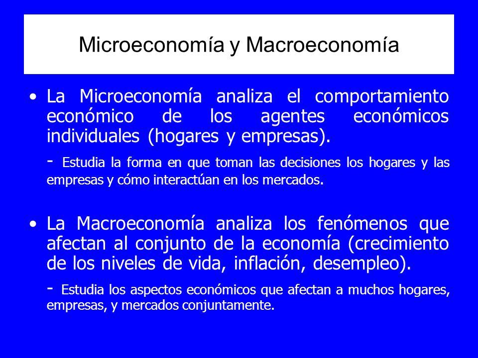 Microeconomía y Macroeconomía La Microeconomía analiza el comportamiento económico de los agentes económicos individuales (hogares y empresas). - Estu
