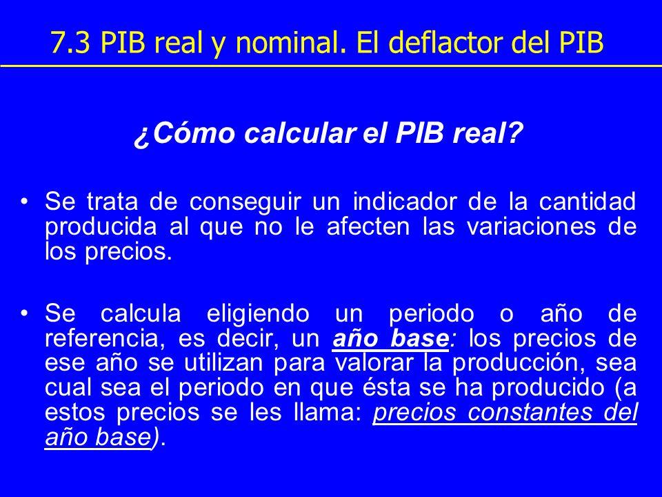 7.3 PIB real y nominal. El deflactor del PIB ¿Cómo calcular el PIB real? Se trata de conseguir un indicador de la cantidad producida al que no le afec