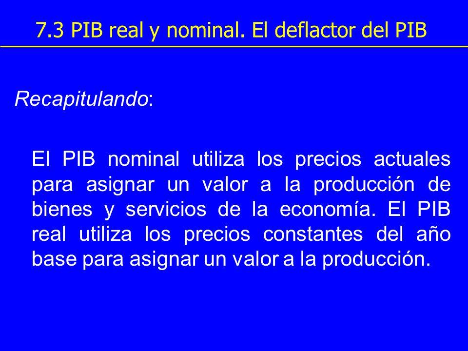 7.3 PIB real y nominal. El deflactor del PIB Recapitulando: El PIB nominal utiliza los precios actuales para asignar un valor a la producción de biene