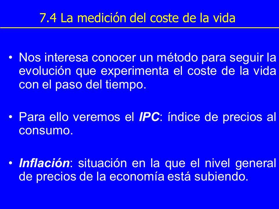 7.4 La medición del coste de la vida Nos interesa conocer un método para seguir la evolución que experimenta el coste de la vida con el paso del tiemp