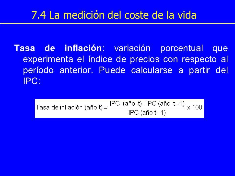 7.4 La medición del coste de la vida Tasa de inflación: variación porcentual que experimenta el índice de precios con respecto al período anterior. Pu