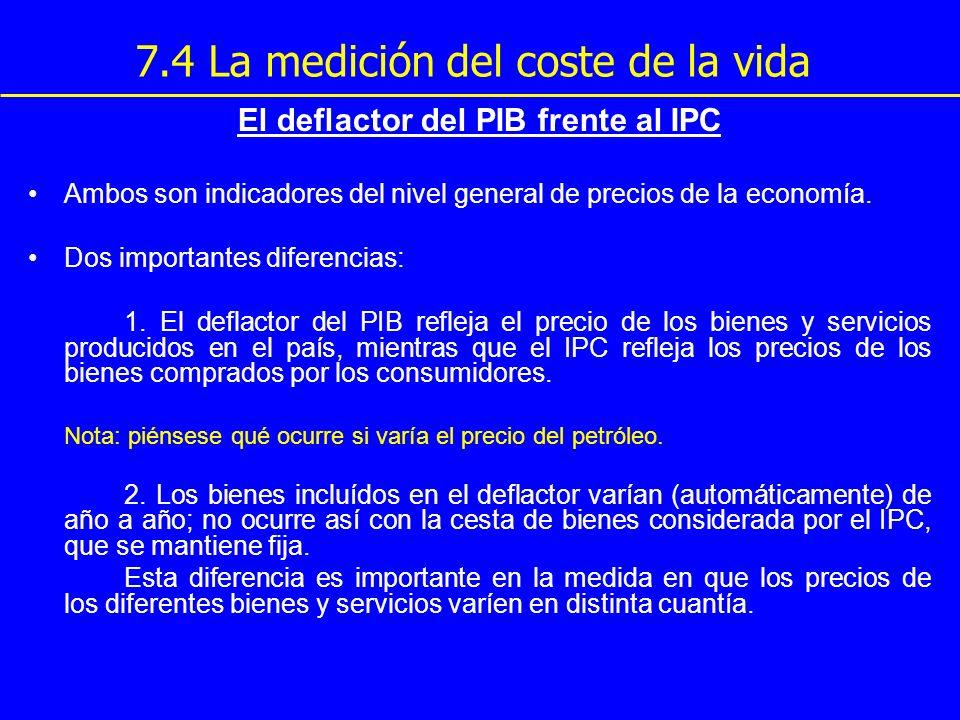 7.4 La medición del coste de la vida El deflactor del PIB frente al IPC Ambos son indicadores del nivel general de precios de la economía. Dos importa