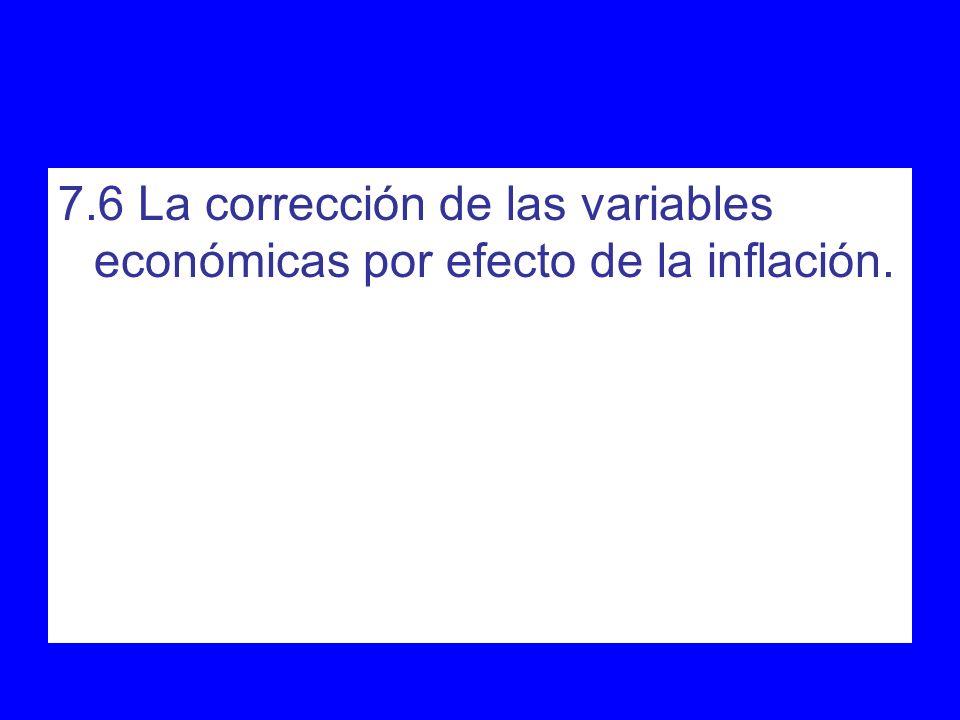 7.6 La corrección de las variables económicas por efecto de la inflación.
