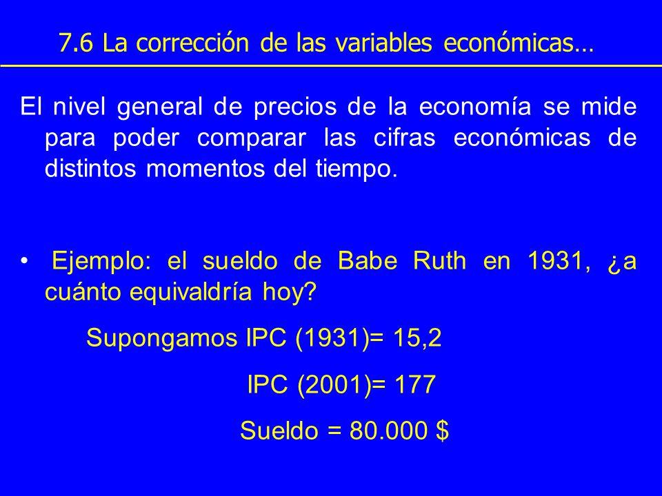 7.6 La corrección de las variables económicas… El nivel general de precios de la economía se mide para poder comparar las cifras económicas de distint