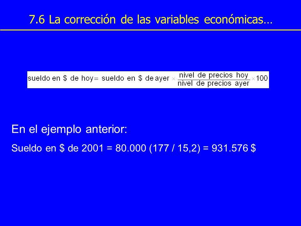 7.6 La corrección de las variables económicas… En el ejemplo anterior: Sueldo en $ de 2001 = 80.000 (177 / 15,2) = 931.576 $