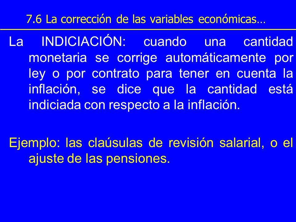 7.6 La corrección de las variables económicas… La INDICIACIÓN: cuando una cantidad monetaria se corrige automáticamente por ley o por contrato para te