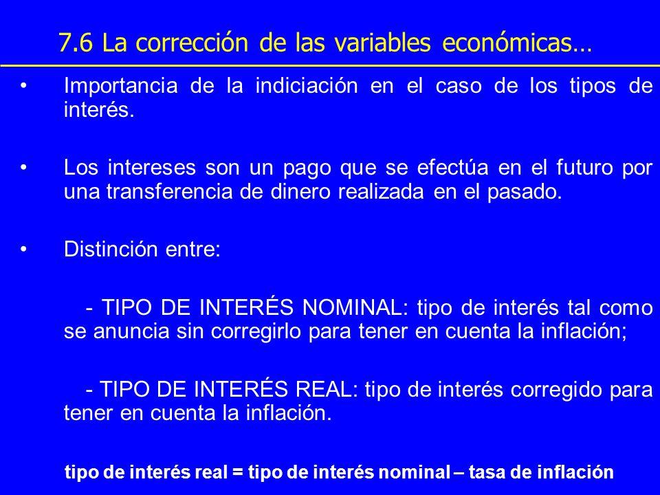 7.6 La corrección de las variables económicas… Importancia de la indiciación en el caso de los tipos de interés. Los intereses son un pago que se efec