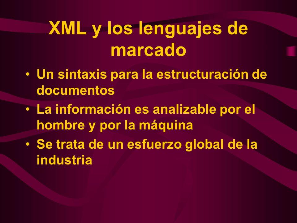 XML y los lenguajes de marcado Un sintaxis para la estructuración de documentos La información es analizable por el hombre y por la máquina Se trata d