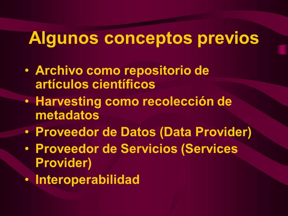 Algunos conceptos previos Archivo como repositorio de artículos científicos Harvesting como recolección de metadatos Proveedor de Datos (Data Provider