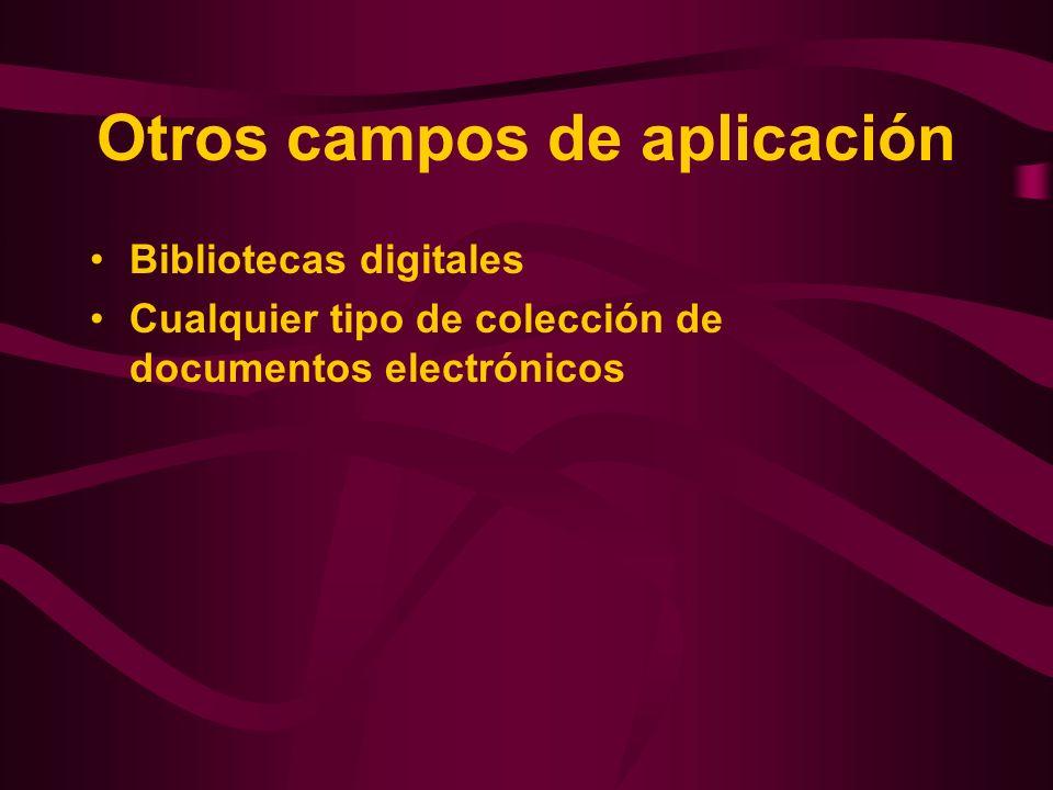 Otros campos de aplicación Bibliotecas digitales Cualquier tipo de colección de documentos electrónicos