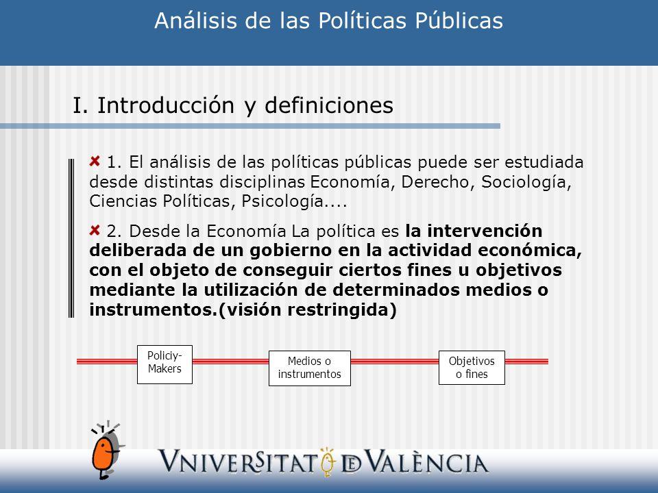 1. El análisis de las políticas públicas puede ser estudiada desde distintas disciplinas Economía, Derecho, Sociología, Ciencias Políticas, Psicología