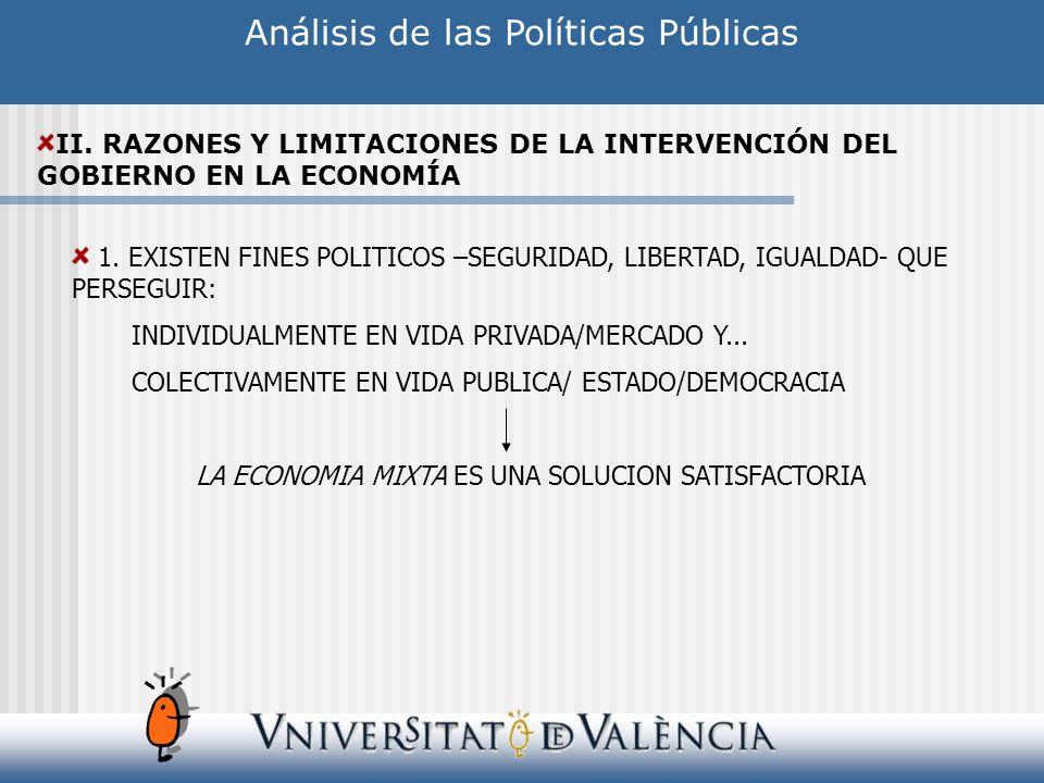 Análisis de las Políticas Públicas II. RAZONES Y LIMITACIONES DE LA INTERVENCIÓN DEL GOBIERNO EN LA ECONOMÍA 1. EXISTEN FINES POLITICOS –SEGURIDAD, LI