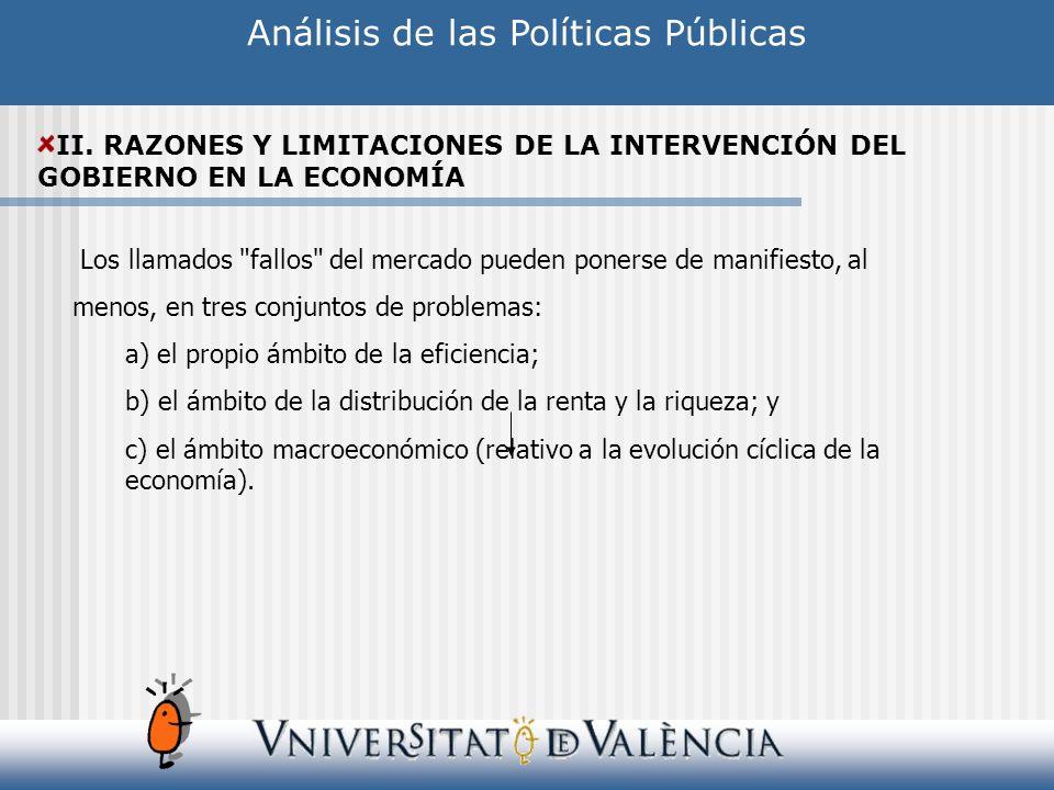 Análisis de las Políticas Públicas II. RAZONES Y LIMITACIONES DE LA INTERVENCIÓN DEL GOBIERNO EN LA ECONOMÍA Los llamados