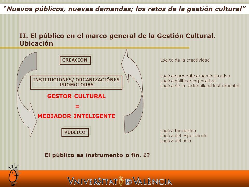 II. El público en el marco general de la Gestión Cultural.