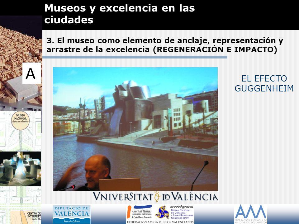 3. El museo como elemento de anclaje, representación y arrastre de la excelencia (REGENERACIÓN E IMPACTO) Museos y excelencia en las ciudades A EL EFE
