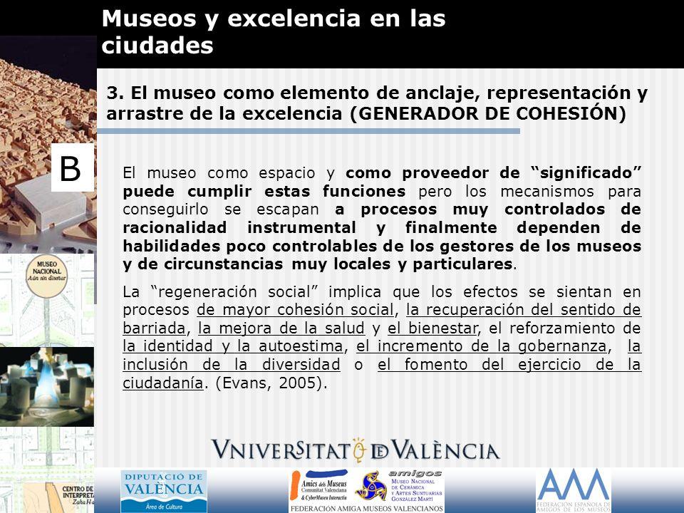 3. El museo como elemento de anclaje, representación y arrastre de la excelencia (GENERADOR DE COHESIÓN) Museos y excelencia en las ciudades B El muse
