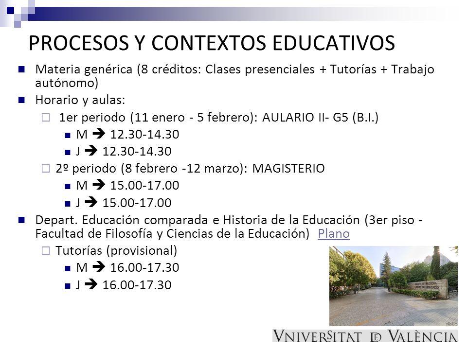PROCESOS Y CONTEXTOS EDUCATIVOS Materia genérica (8 créditos: Clases presenciales + Tutorías + Trabajo autónomo) Horario y aulas: 1er periodo (11 ener