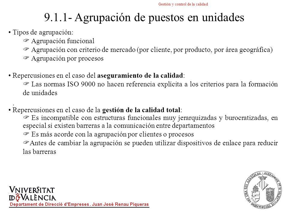Gestión y control de la calidad. Tipos de agrupación: Agrupación funcional Agrupación con criterio de mercado (por cliente, por producto, por área geo