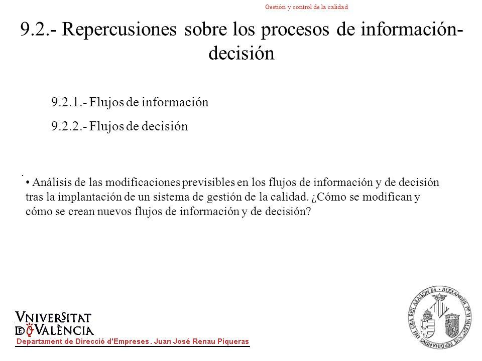 Gestión y control de la calidad. 9.2.- Repercusiones sobre los procesos de información- decisión 9.2.1.- Flujos de información 9.2.2.- Flujos de decis