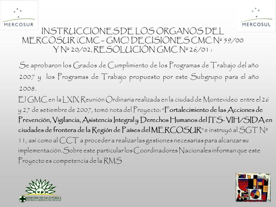 INSTRUCCIONES DE LOS ORGANOS DEL MERCOSUR (CMC – GMC) DECISIONES CMC Nº 59/00 Y Nº 20/02, RESOLUCIÓN GMC Nº 26/01 : Se aprobaron los Grados de Cumplimiento de los Programas de Trabajo del año 2007 y los Programas de Trabajo propuesto por este Subgrupo para el año 2008.