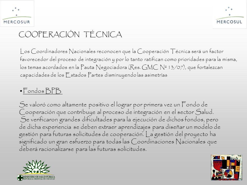 COOPERACIÓN TÉCNICA Los Coordinadores Nacionales reconocen que la Cooperación Técnica será un factor favorecedor del proceso de integración y por lo tanto ratifican como prioridades para la misma, los temas acordados en la Pauta Negociadora (Res.