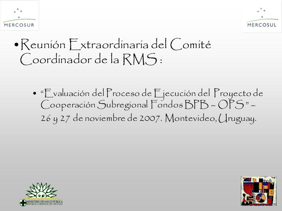 Reunión Extraordinaria del Comité Coordinador de la RMS : Evaluación del Proceso de Ejecución del Proyecto de Cooperación Subregional Fondos BPB – OPS – 26 y 27 de noviembre de 2007.