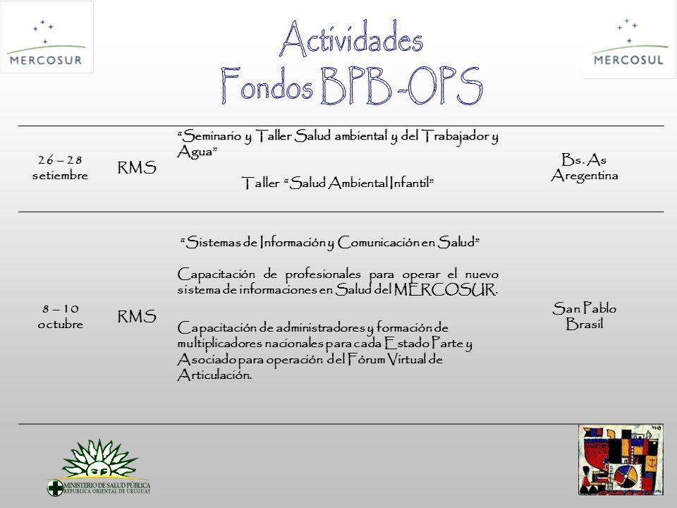26 – 28 setiembre RMS Seminario y Taller Salud ambiental y del Trabajador y Agua Taller Salud Ambiental Infantil Bs.
