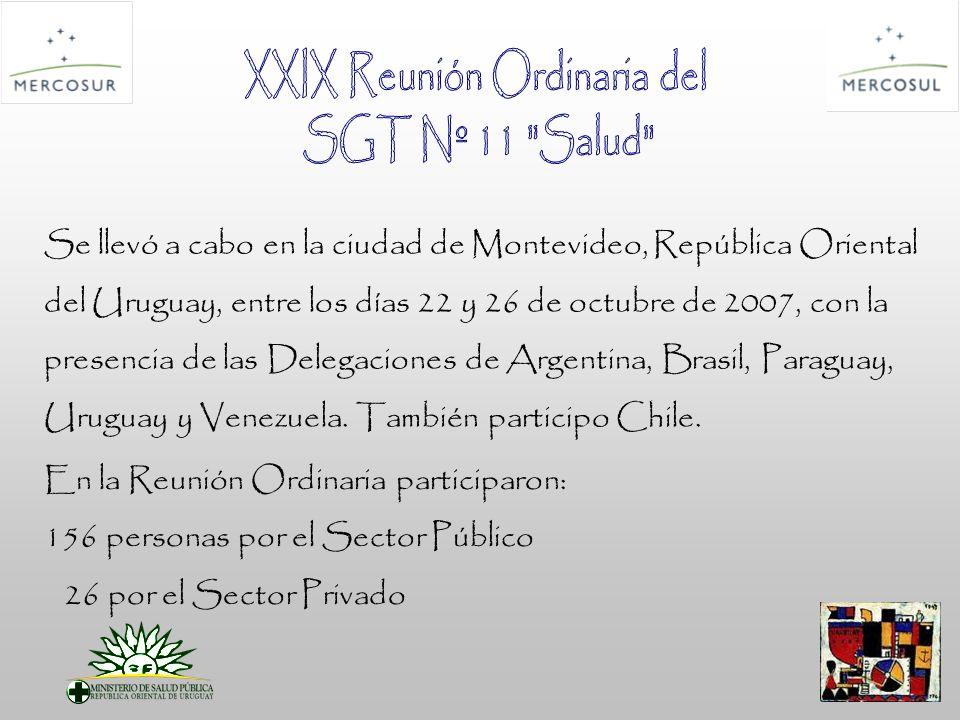 Se llevó a cabo en la ciudad de Montevideo, República Oriental del Uruguay, entre los días 22 y 26 de octubre de 2007, con la presencia de las Delegaciones de Argentina, Brasil, Paraguay, Uruguay y Venezuela.
