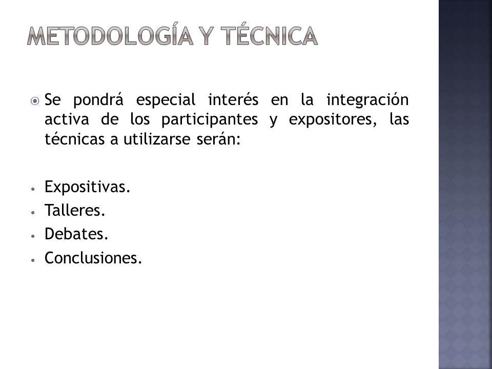 Se pondrá especial interés en la integración activa de los participantes y expositores, las técnicas a utilizarse serán: Expositivas.